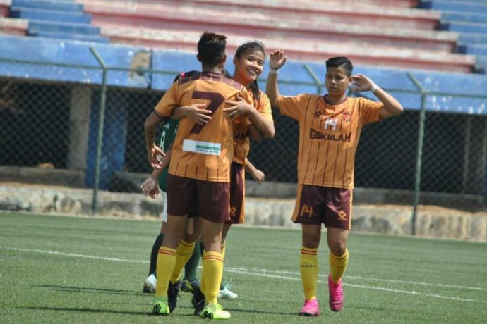 Gokulam Kerala FC players celebrating one of their goals in the Indian Women's League. (Photo courtesy: AIFF Media)
