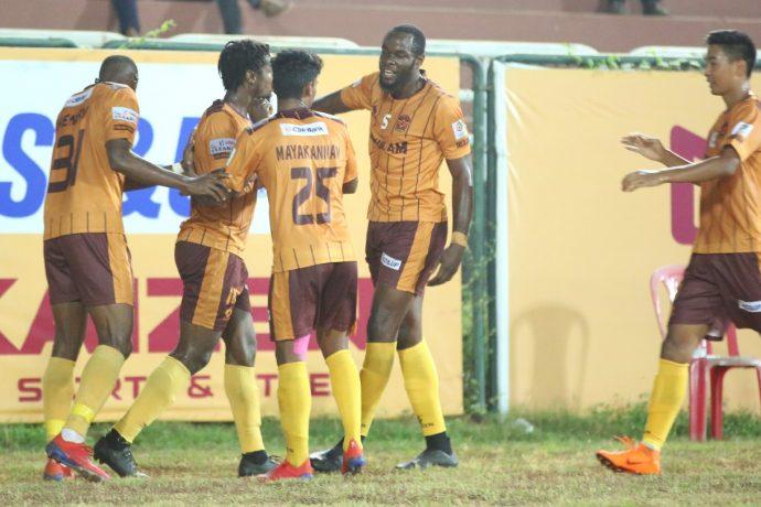 Gokulam Kerala FC players celebrating a goal in the I-League. (Photo courtesy: I-League Media)