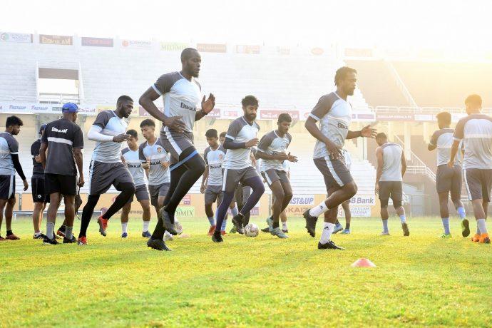 Gokulam Kerala FC training session at the EMS Stadium in Kozhikode. (Photo courtesy: I-League Media)