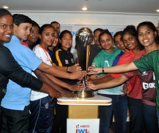 2019/20 Hero Indian Women's League (IWL) launch ceremony: Astrid Pereira (Bidesh XI FC), Shyama Rani (BBK DAV FC), Poli Koley (Sreebhumi FC), Amoolya (Bangalore United FC), Priya Mistry (Baroda FA), Dangmei Grace (Kryphsa FC), Ashalata Devi (Sethu FC), Manpreet (Kickstart FC), Mrunal Khot (FC Kolhapur), Karishma Oram (Odisha FC), Michel Castanha (Gokulam Kerala FC), Soumya Guguloth (Kenkre FC). (Photo courtesy: AIFF Media)