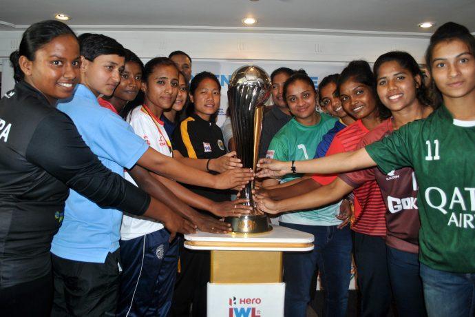 2019/20 Hero Indian Women's League (IWL) launch ceremony: Astrid Pereira (Bidesh XI FC), Shyama Rani (BBK DAV FC), Poli Koley (Sreebhumi FC), Amoolya (Bangalore United FC), Priya Mistry (Baroda FA), Dangmei Grace (Kryphsa FC), Ashalata Devi (Sethu FC), Manpreet (Kickstart FC), Mrunal Khot (FC Kolhapur), Karishma Oram (Odisha FC), Michel Castanha (Gokulam Kerala FC), Soumya Guguloth (Kenkre FC). (Photo courtesy: AIFF Media)