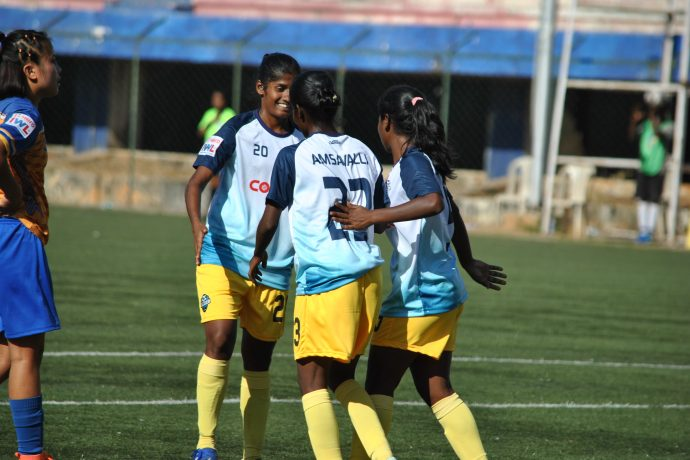 Sethu FC players celebrating one of their goals in the Indian Women's League. (Photo courtesy: AIFF Media)