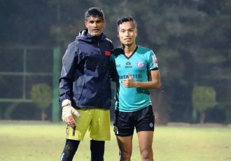 Jamshedpur FC stars Subrata Paul and Amarjit Singh Kiyam. (Photo courtesy: AIFF Media)