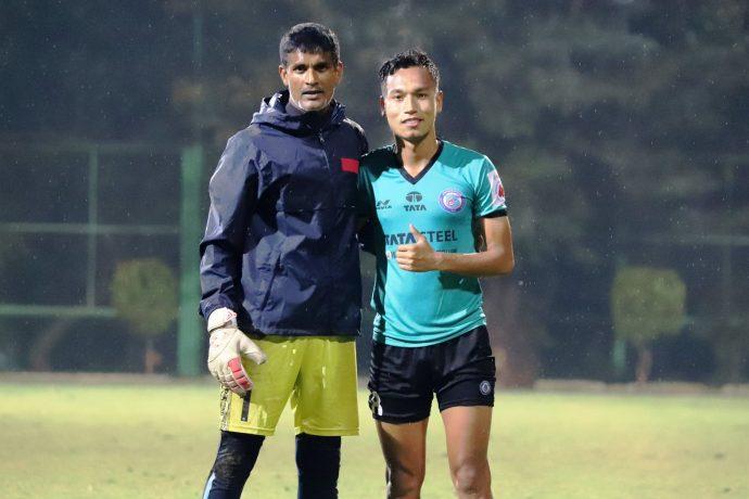 Jamshedpur FC stars Subrata Paul and Amarjit Singh Kiyam. (Photo courtesy: AIFF Media)