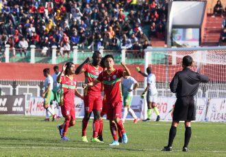 TRAU FC players celebrating one of their goals in the Hero I-League. (Photo courtesy: I-League Media)