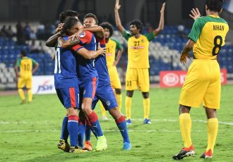 Bengaluru FC players celebrate one of goals against Maziya S&RC in the 2020 AFC Cup playoffs. (Photo courtesy: Bengaluru FC)