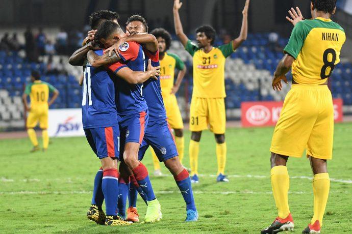 Bengaluru FC players celebrate one of goals against Maziya S&RC in the 2020 AFC Cup playoffs. (Photo courtesy: Bengaluru FC)
