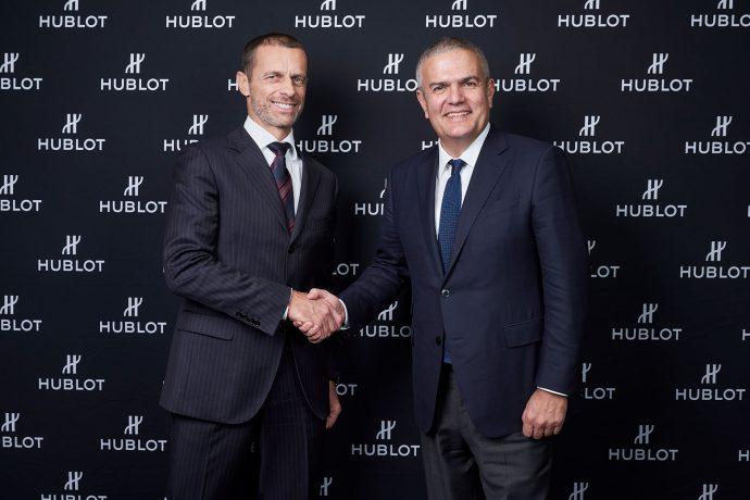 UEFA President Aleksander Čeferin and Hublot CEO Ricardo Guadalupe. (Photo courtesy: Hublot)