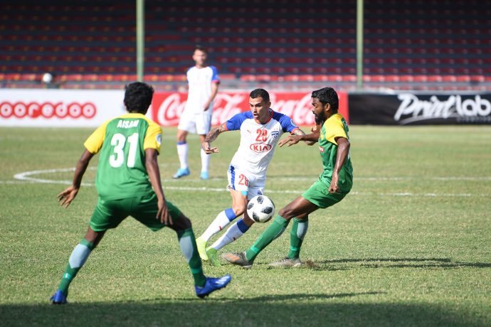 AFC Cup match action between Maziya Sports & Recreation Club and Bengaluru FC at the National Stadium, in Male, Maldives. (Photo courtesy: Bengaluru FC)
