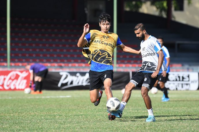 Bengaluru FC training session at the Maldives National Football Stadium, in Male, Maldives. (Photo courtesy: Bengaluru FC)