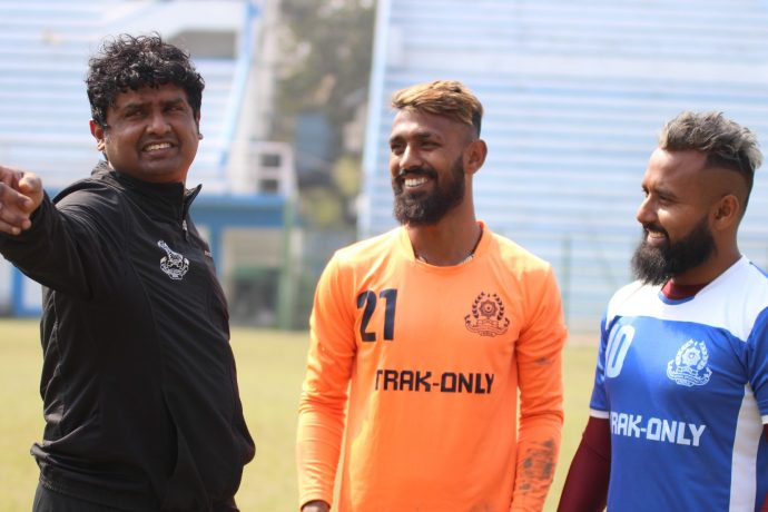 Technical Director Dipendu Biswas during a Mohammedan Sporting Club training session in Kolkata. (Photo courtesy: Mohammedan Sporting Club)