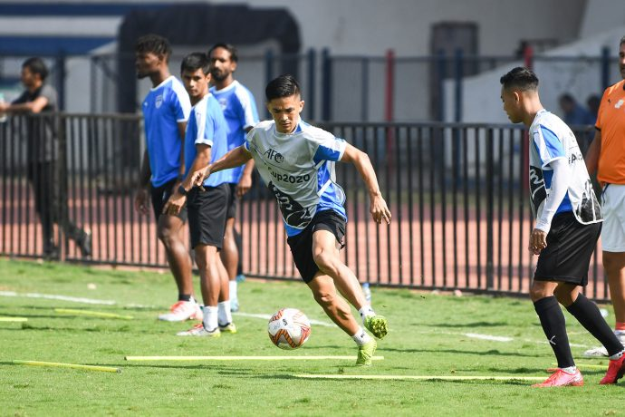 Sunil Chhetri during a Bengaluru FC training session at the Sree Kanteerava Stadium. (Photo courtesy: Bengaluru FC)