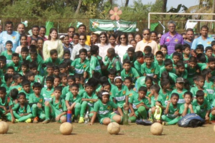Participants of the Salgaocar FC Community Outreach Program Grassroots Football Festival at the Chicalim Panchayat Ground. (Photo courtesy: Salgaocar FC)