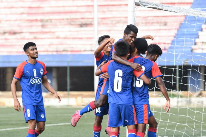 Bengaluru FC 'B' players celebrate their win against Hyderabad FC Reserves in the 2nd Division League at the Bengaluru Football Stadium, on Saturday. (Photo courtesy: Bengaluru FC)