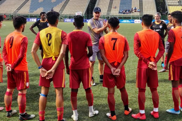 India MNT head coach Igor Štimac during a training session with the Indian Arrows at The Cooperage in Mumbai. (Photo courtesy: AIFF Media)
