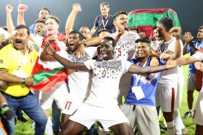 Mohun Bagan AC players celebrating their Hero I-League 2019/20 title. (Photo courtesy: I-League Media)