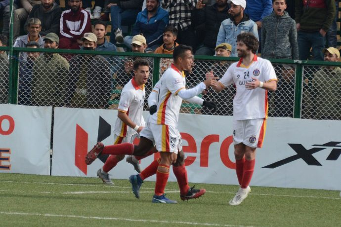 East Bengal players celebrating one of their goals in the Hero I-League. (Photo courtesy: I-League Media)