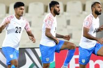 Indian national team players during their pre-match warm-up. (Photo courtesy: AIFF Media)