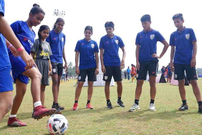 Members of the India U-17 WNT at the International Women's Day celebrations at the Benaulim Ground in Goa, India. (Photo courtesy: FIFA U-17 Women's World Cup LOC)