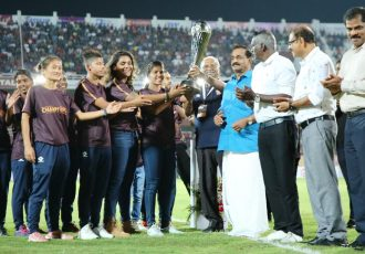 Newly-crowned Hero Indian Women's League (IWL) champions Gokulam Kerala FC were felicitated in a glittering, first-of-a-kind ceremony at the EMS Corporation Stadium in Kozhikode. (Photo courtesy: AIFF Media)