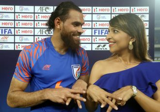 India defender Adil Ahmed Khan and his wife Khuri Irani. (Photo courtesy: AIFF Media)