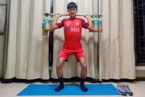 Aizawl FC's Jonathan Lalrawngbawla maintaining his fitness with custom-made gym instruments. (Photo courtesy: I-League Media)