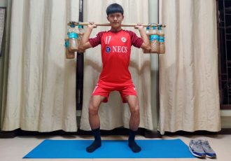 Aizawl FC's Jonathan Lalrawngbawla maintaining his fitness with custom-made gym instruments. (Photo courtesy: I-League Media)