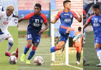Bengaluru FC players Namgyal Bhutia, Leon Augustine, Ajay Chhetri and Naorem Roshan Singh. (Photos courtesy: Bengaluru FC)