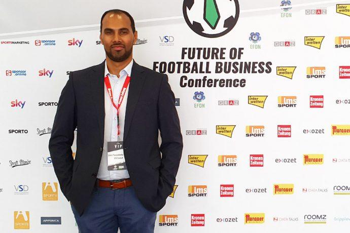 Chris Punnakkattu Daniel at the FUTURE OF FOOTBALL BUSINESS Conference in Graz, Austria. (© CPD Football)