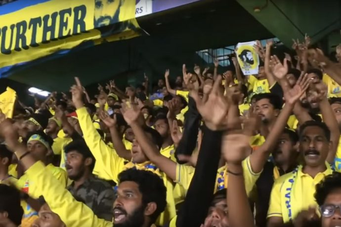 Manjappada Kerala Blasters Fans during a match at the Jawaharlal Nehru Stadium in Kochi, India. (Photo courtesy: Screenshot COPA90)
