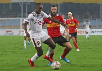 Hero I-League match action between Mohun Bagan and East Bengal. (Photo courtesy: AIFF Media)