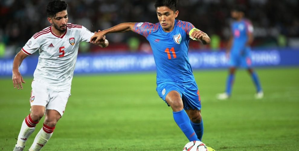 Indian national team captain Sunil Chhetri in action at the AFC Asian Cup UAE 2019. (Photo courtesy: AIFF Media)