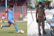 Indumathi Kathiresan in action for the Indian Women's national team (left) and during her Tamil Nadu Police duty. (Photo courtesy: AIFF Media)