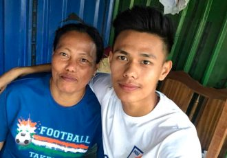 India U-19 international Ninthoinganba Meetei with his mother. (Photo courtesy: AIFF Media)