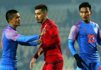 Indian national team captain Sunil Chhetri, Afghanistan star Zohib Islam Amiri and India's Seminlen Doungel during a FIFA World Cup Qatar 2022 qualifier. (Photo courtesy: AIFF Media)