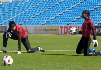 Gurpreet Singh Sandhu and Subrata Paul during an Indian national team training session at the AFC Asian Cup Qatar 2011. (Photo courtesy: AIFF Media)