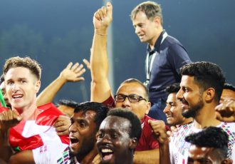 Mohun Bagan AC players and officials celebrating their Hero I-League title. (Photo courtesy: I-League Media)