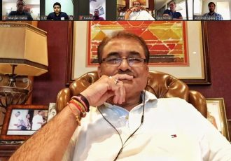 AIFF President Praful Patel during a video conference with the various Indian national team coaches. (Photo courtesy: AIFF Media)