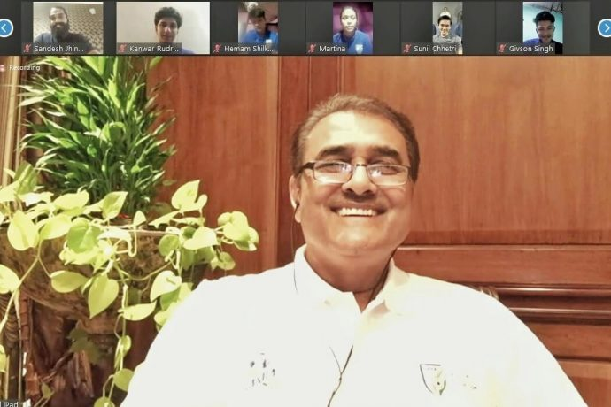 All India Football Federation President Praful Patel during a video conference with Indian national team players. (Photo courtesy: AIFF Media)