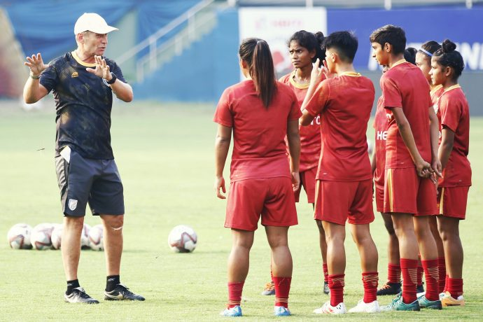 India U-17 Women's national team head coach Thomas Dennerby with his players. (Photo courtesy: AIFF Media)