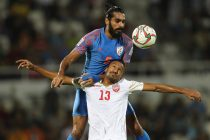 Indian national team star Sandesh Jhingan during an AFC Asian Cup UAE 2019 match against Bahrain. (Photo courtesy: AIFF Media / Stringer / Lagardere Sports)