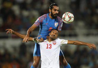Indian national team star Sandesh Jhingan during an AFC Asian Cup UAE 2019 match against Bahrain. (Photo courtesy: AIFF Media / Stringer / Lagardere Sports)