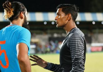 Indian national team defender Sandesh Jhingan and goalkeeper Subrata Paul at the sidelines of a match. (Photo courtesy: AIFF Media)