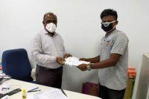 Chennaiyin FC Foundation contributes N95 masks for Chennai corporation workers. (Photo courtesy: Chennaiyin FC)
