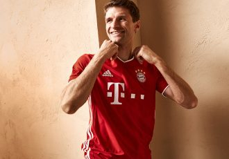 Thomas Müller presents the new FC Bayern home jersey by adidas for the new 2020/21 season. (Photo courtesy: adidas)