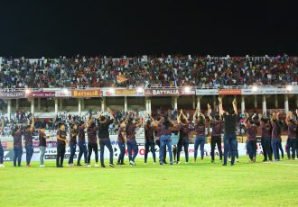 Gokulam Kerala FC Women's team players and officials celebrating their Hero Indian Women's League (IWL) title with their fans. (Photo courtesy: AIFF Media)