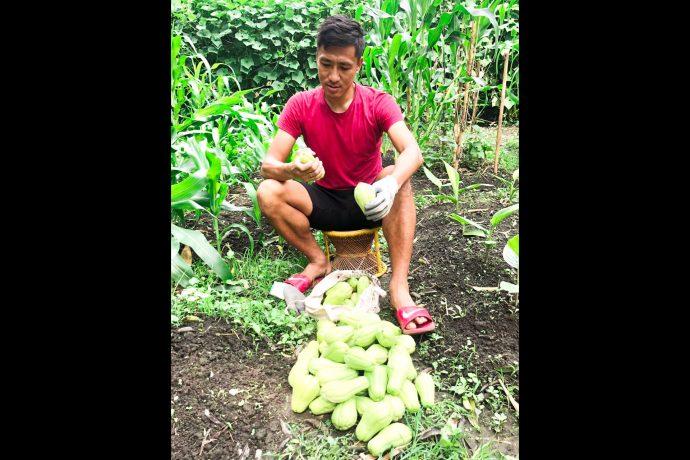Gouramangi Moirangthem Singh has discovered a new passion in organic farming. (Photo courtesy: AIFF Media)