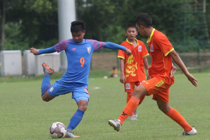 Match action during a India U-16 vs Bhutan U-16 encounter. (Photo courtesy: AIFF Media)