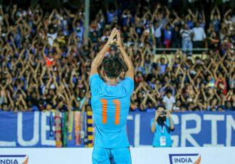 Indian national team captain Sunil Chhetri celebrating with fans. (Photo courtesy: AIFF Media)