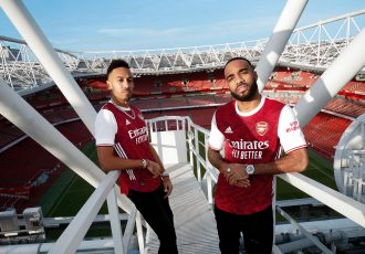 Arsenal FC stars Pierre-Emerick Aubameyang and Alexandre Lacazette on the rooftop of the Emirates Stadium. (Photo courtesy: adidas)
